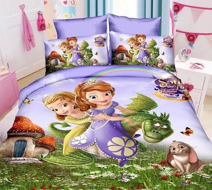 Sofia la première literie imprimée définit la chambre des enfants fille décor unique double taille literie couette couvertures 3 pièces pas de remplissage