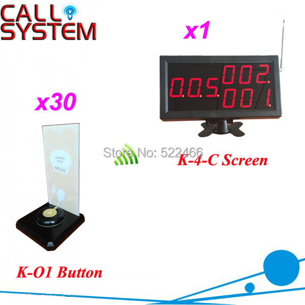 Newest Remote Call Button System for hotel restaurant cafe, 1 set with 30 buttons and 1 screen, shipping free new customer call button system for restaurant cafe hotel with 15 call button and 1 display shipping free