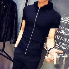 2019 new summer zipper hooded male Korean version of the short-sleeved t-shirt Slim social gang nightclub trend