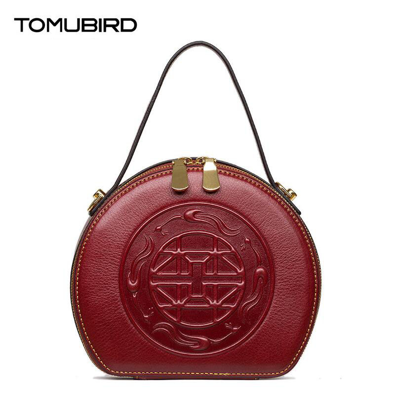 TOMUBIRD 2017 new Retro fashion embossed round bag superior leather designer famous brand women bags genuine leather handbags tomubird new original hand embossed superior leather designer bag famous brand women bags genuine leather handbags shoulder