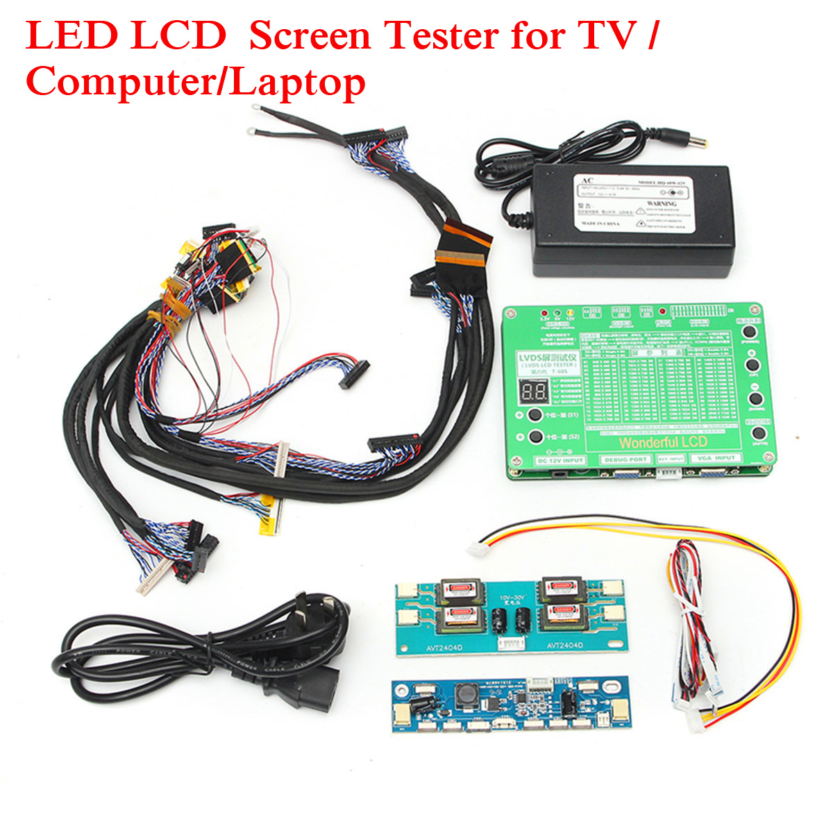 Laptop LCD/LED Test Tool Kit Panel Screen Tester+ 14PCS Lvds Cables + Inverter