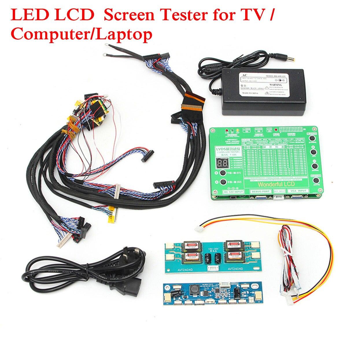 Ordinateur portable LCD/led Outil de Test Kit Panneau Écran Testeur + 14 pièces Lvds Câbles + Onduleur