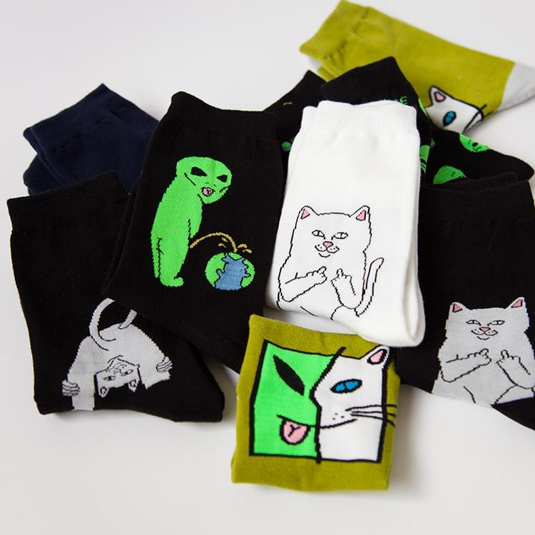 New Design Men Women High Quality Cartoon Cat   Socks   Hip Hop ET Cotton   Socks