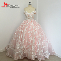 Custom Made 2017 Wedding Bridal Dresses Amazing Arabic Dubai Luxury Ivory Lace Pink Extra Puffy Bridal Gown Real Photo LIYATT
