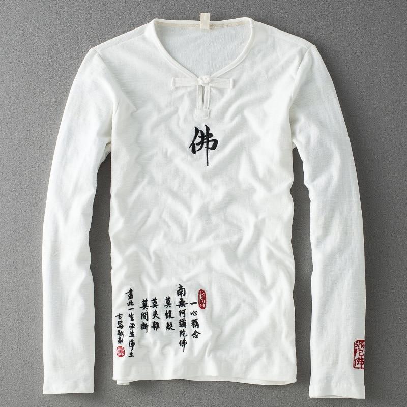 Hot 2017 New summer Fashion Brand cotton Linen Long Sleeve   T     Shirt   Men Trend Casual Mens   T  -  Shirt   Buddhist style   T     Shirts   4XL 5XL