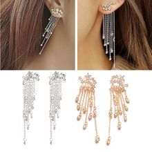 2019 New Fashion Shooting Star Long Rhinestone Tassels Drop Hook Earrings Women Jewelry