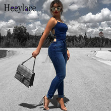 1e021b24dba4 heeylace Sexy Sleeveless Backless Denim Jumpsuit Skinny Pants Pockets Jeans  women