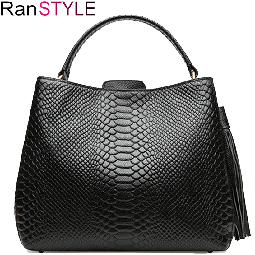 Genuine Leather bag Fashion crocodile pattern black red women hand Bag 2018 tassel Women Female crossbody Shoulder Bags