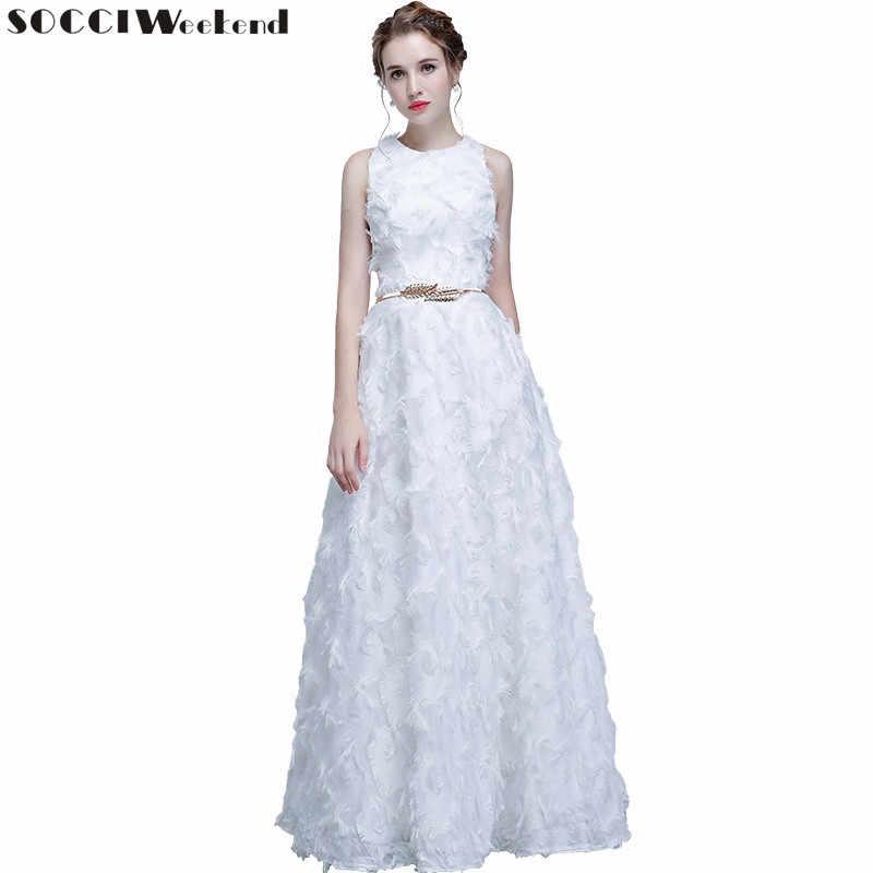 a7cc25b8a56 SOCCI выходные Новый простое вечернее платье 2019 Банкетный элегантный белые  перья без рукавов Длинные Вечерние Пром