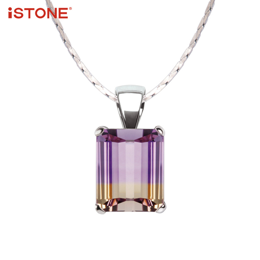 iSTONE 100% Natural Gemstone Ametrine Purple Square Shape Pendant Necklace 925 Sterling Silver Chain Fine Jewelry Gift for Girl