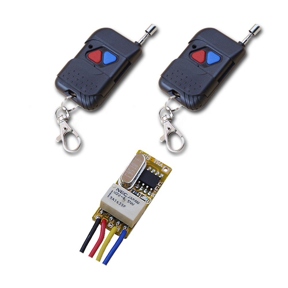 2017 Mini Wireless Remote Control Switch 1pcs 24MM*11MM*8MM Receiver& 2pcs Transmitter with Red and Blue Button 315/433mhz wireless pager system 433 92mhz wireless restaurant table buzzer with monitor and watch receiver 3 display 42 call button