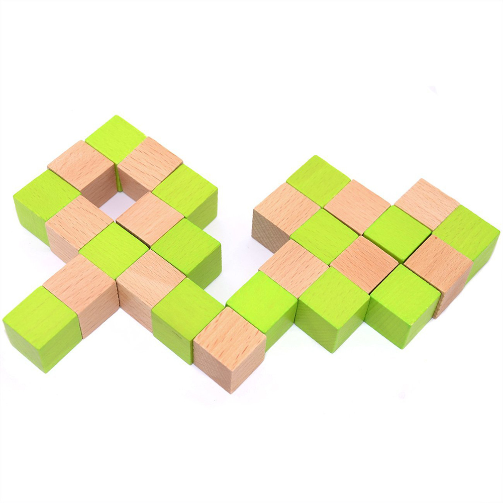 New Wood Snake Cube Puzzle Brain Teaser Toy Games for Adults Kids