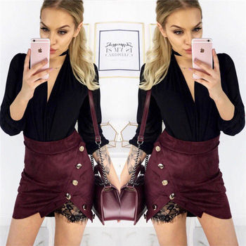 Women Ladies High Waisted Pencil Skirt Bodycon Suede Leather Mini Skirt Women Casual Solid Mini Skirts jeans con blazer mujer
