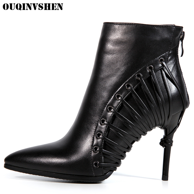 OUQINVSHEN Pointed Toe Thin Heels Women Boots Zipper Solid Ladies Ankle Boots Extreme High Heels Genuine Leather Women's Boots