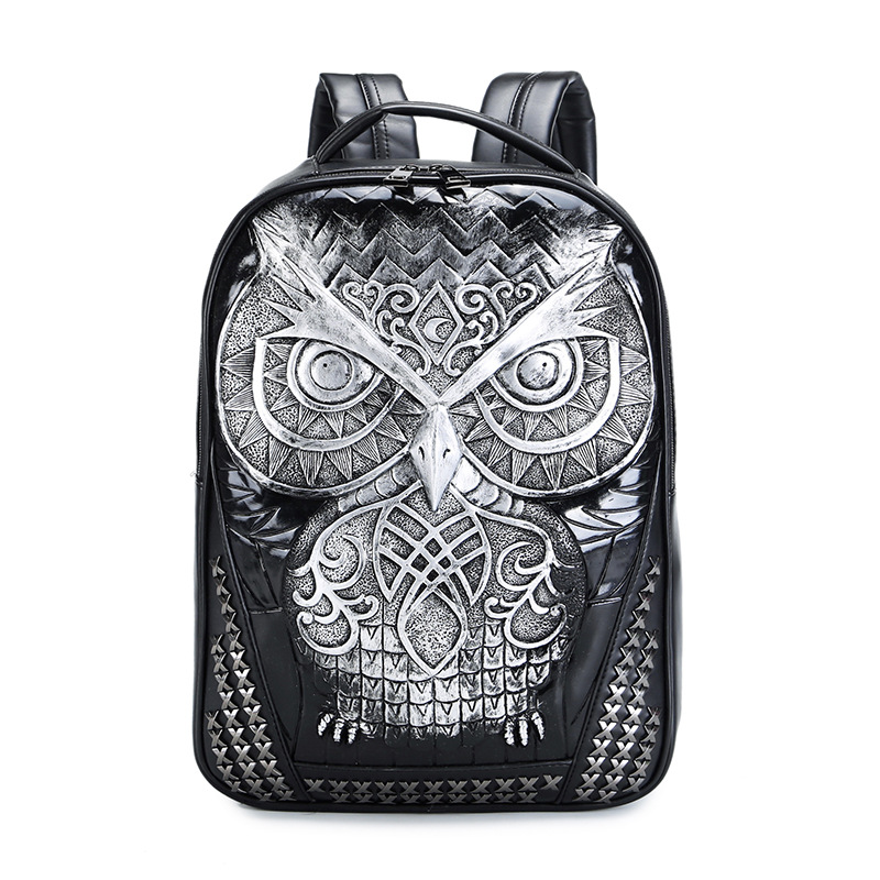 Women Backpack 2017 Newest Stylish Cool Black PU Leather Owl Backpack Female Hot Sale Women Bag In Stock Fast Shipping women backpack fashion pvc faux leather turtle backpack leather bag women traveling antitheft backpack black white free shipping
