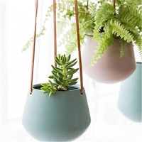 KINGLANG European ins indoor green radish ceramic flower pot solid color lazy plant belt hanging hanging basin basket