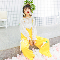 Princess Sweet Lolita Pants Autumn Korean Female Sweet Color Eyelet Bow Sen Baggy Pants Rope Suspenders