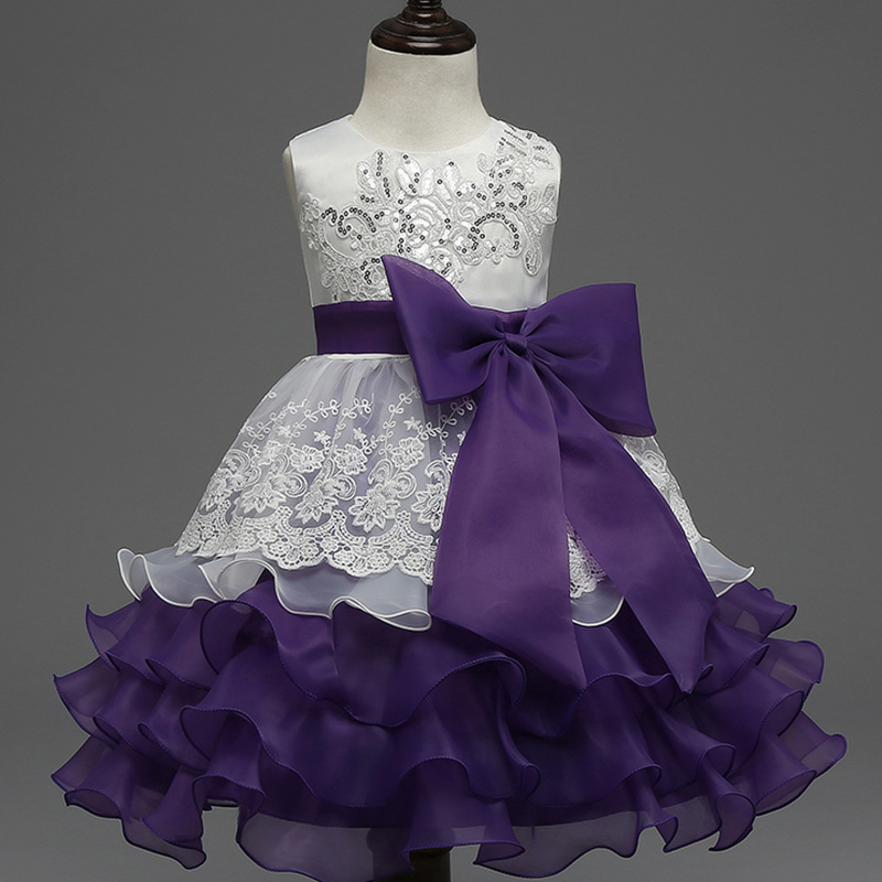 Fancy Girls Bridesmaid Dresses For Children Summer Lace Big Bow Kids ...