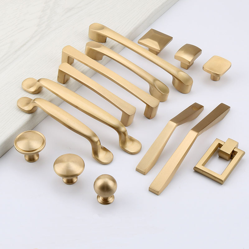 6pcs/lot Brass Cabinet Handle Brass Bar Cupboard Knobs Drawer Pulls European Furniture Accessory Door Handle Free Shipping