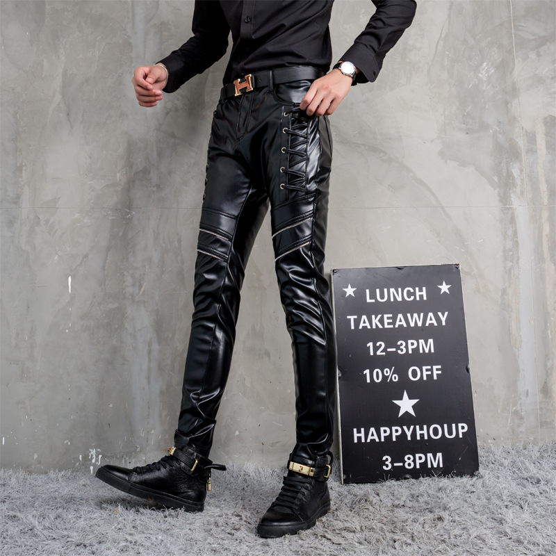 BOUO2018 men leather pants The new winter Cultivate one's morality feet male trend of locomotive pants