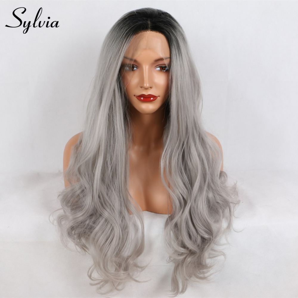 Sylvia Black to Grey 2T Ombre Loose Wave Synthetic Lace Front Wigs Middle Parting Natural Half