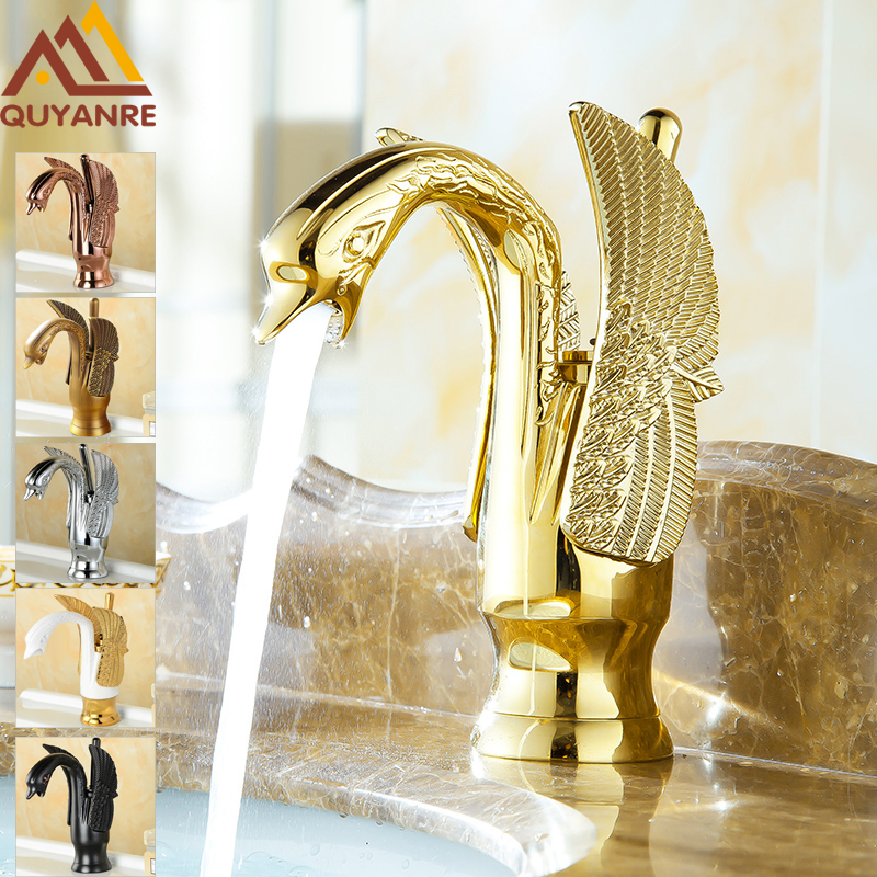 Quyanre Black Chrome Golden Swan Basin Sink Faucet Single Handle Brass Mixer Tap Bathroom Sink Faucet Torneira do Banheiro single handle golden swan faucet bathroom basin faucet vanity sink mixer tap