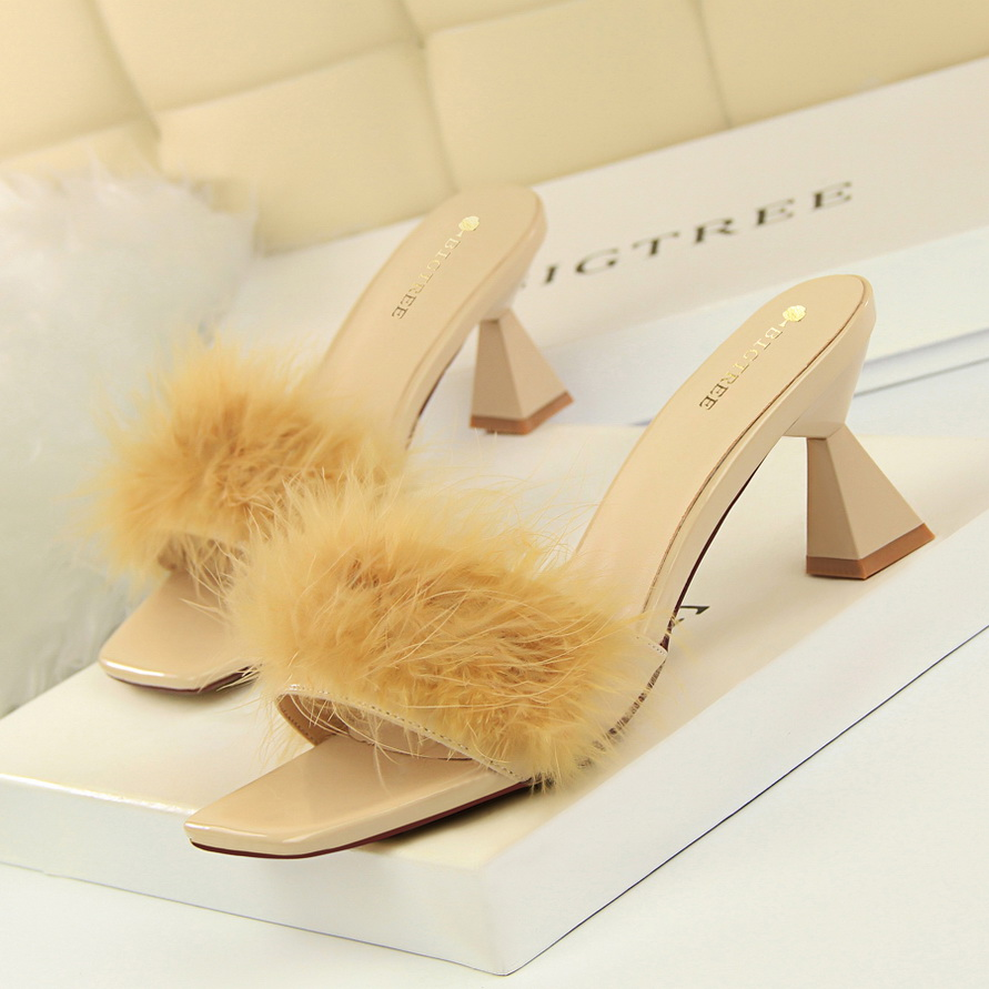 Stylish Pointy Toe Fluffy Fur High Heel Mules Stilettos Womens Slippers Shoes