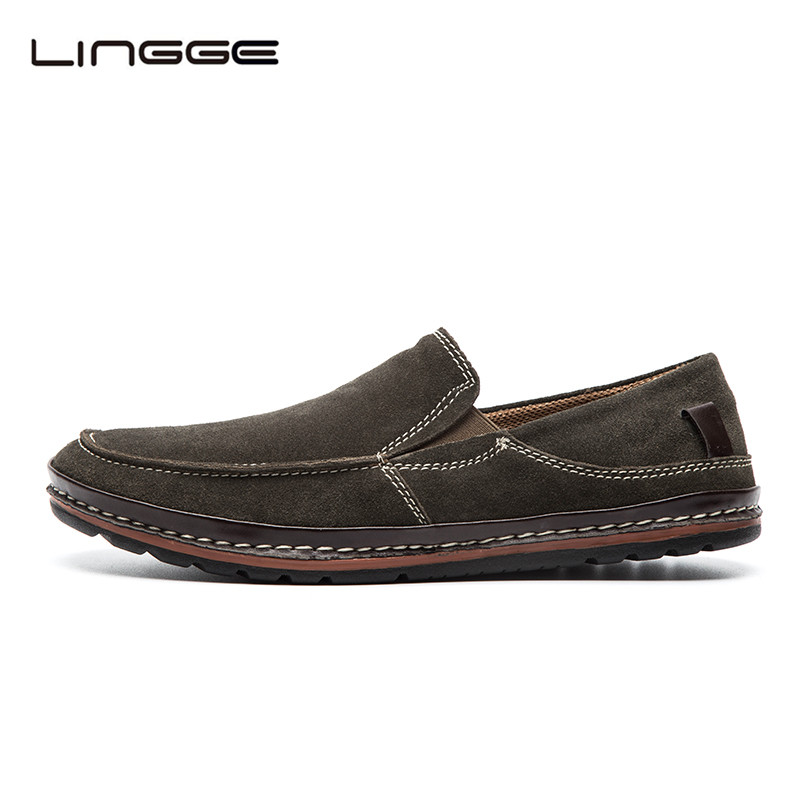 LINGGE Autumn Men's Casual Shoes, Suede Leather Slip On Mens Loafers Shoes, Fashion Designer Moccasins For Men #5331-1