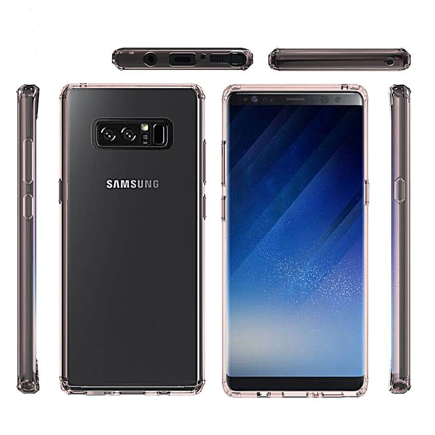 Soft Silicon TPU PC Case For Samsung Galaxy Note 8 Fundas Capa Shockproof Crystal Clear Shell Hard Back Cover For Samsung Note 8 in Fitted Cases from Cellphones Telecommunications