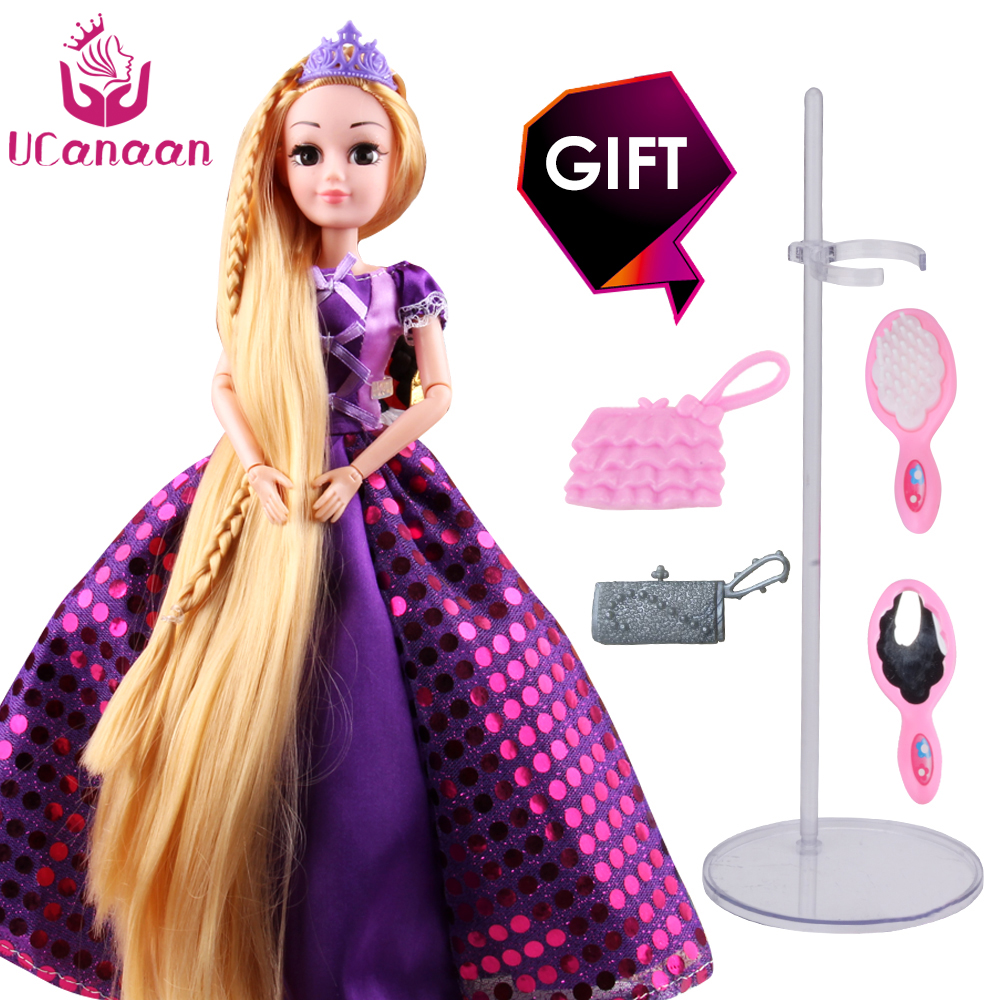 UCanaan 30CM Princess Dolls Rapunzel Long Hair Fashion Toys Joint Moving Body Long Thick Blonde hair