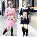 Girls Sweatshirts Cartoon Bear Knitwear Outerwear Autumn Children Hooded Shirt Infants Clothing Kids Warm Clothes Thick Vestidos