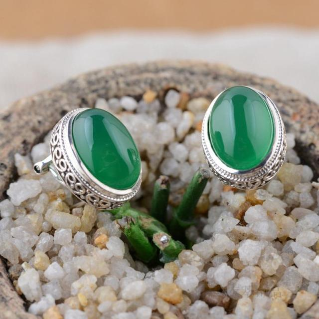 Sterling Silver Thai Silver Inlaid Green Agate Stud Earrings Earrings Ear Clip Egg-Shaped Ellipse Retro Sweet Girl