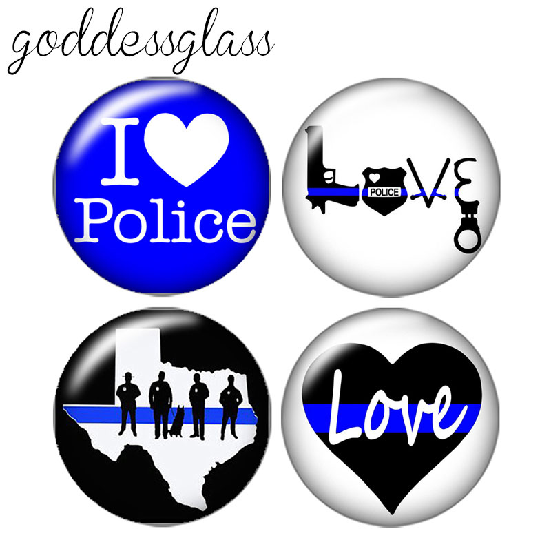 I Love Police 10pcs 12mm/18mm/20mm/25mm Round Photo Glass Cabochon Demo Flat Back Making Findings ZB0429