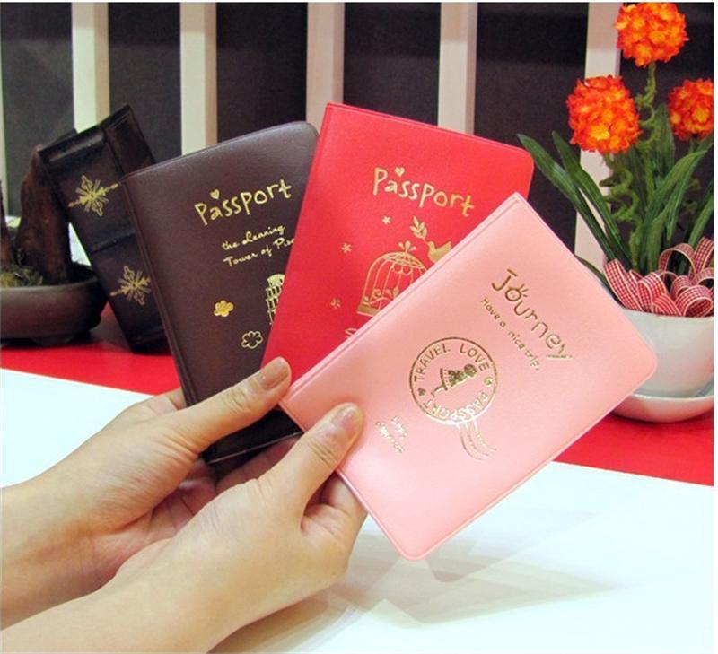 tjejer som Fashion PVC Läder Passport Holder, Cartoon Kitty Travel - Plånböcker