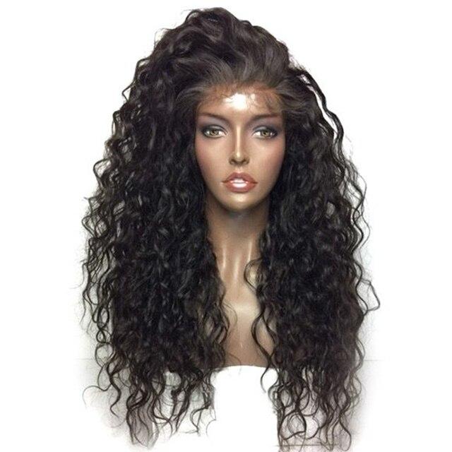 Bombshell negro suelto onda de agua rizada sintética 3 pulgadas peluca  frontal de encaje sin pegamento 00e084998038