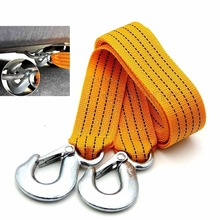 3Tons Car Tow Cable Towing Snatch stout Rope with Hooks Emergency For Super Heavy Duty