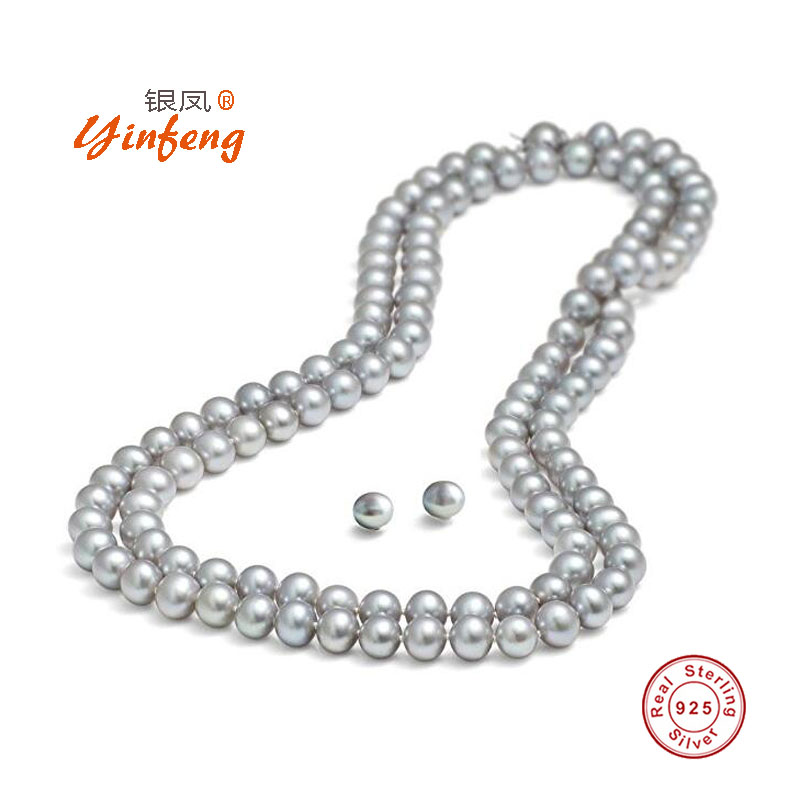 [MeiBaPJ]165cm Nice Charm Real Freshwater Pearl Necklace for women Long Sweater Chain Gray Fashion Necklace Jewelry