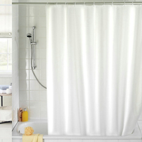 NEW 180x180cm Solid Color Waterproof Shower Curtain Mold Resistant Bath Curtain With 12 Hooks