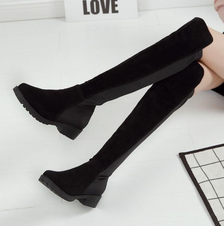 Punta Elástico Diseño Winter Nuevo Rodilla Sexy 2017 En La De Negro Ladies Slip Las Moda Sobre 40 Mujeres Warm Botas Size35 Tejido Redonda T8Hwwq5d