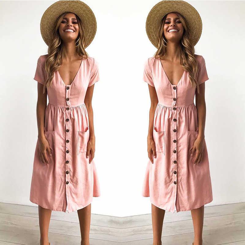dfcb662bb32 Платья пляжное платье летнее женское с коротким рукавом пуговицы сарафан  женский летний длинный хлопок большие размеры