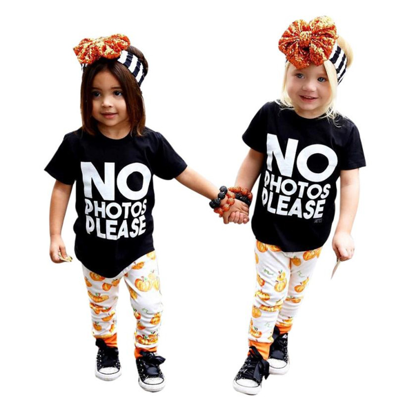Black Colors Cute Toddler Infant Baby Girl Letter T shirt Tops+Pumpkin Pants Halloween Outfits Set Hot 2017 Dropshipping ST27