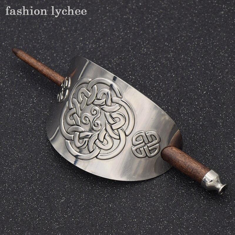 fashion lychee Retro Natural Wooden Carved Flower Hair Stick Handmade Women Barrette Bun Pin Clips Hairs Accessories