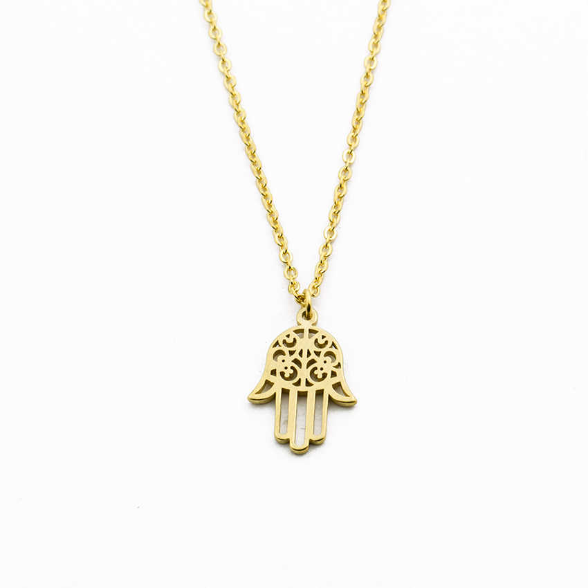 Arabic Soy Luna Hamsa Hand Pendant Necklace Women Men Amulet Stainless Steel Gold Color Hand of Fatima Choker Islamic Jewelry