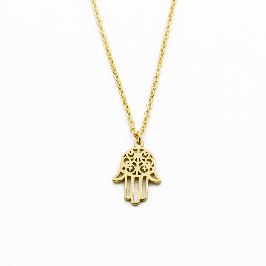 Image 2 - Arabic Soy Luna Hamsa Hand Pendant Necklace Women Men Amulet  Stainless Steel Gold Color Hand of Fatima Choker Islamic  Jewelrynecklaces for womenpendant necklacesilver choker