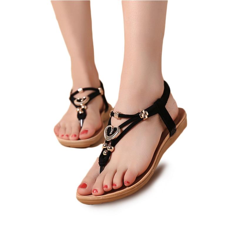 7df423da310d Women Sandals 2016 Fashion Bead Women Flat Sandals Summer Shoes Ladies Sandals  Black-in Women s Sandals from Shoes on Aliexpress.com