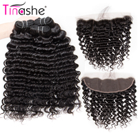 Tinashe Hair Deep Wave Bundles With Frontal Remy Human Hair Lace Frontal With Bundles Brazilian Hair