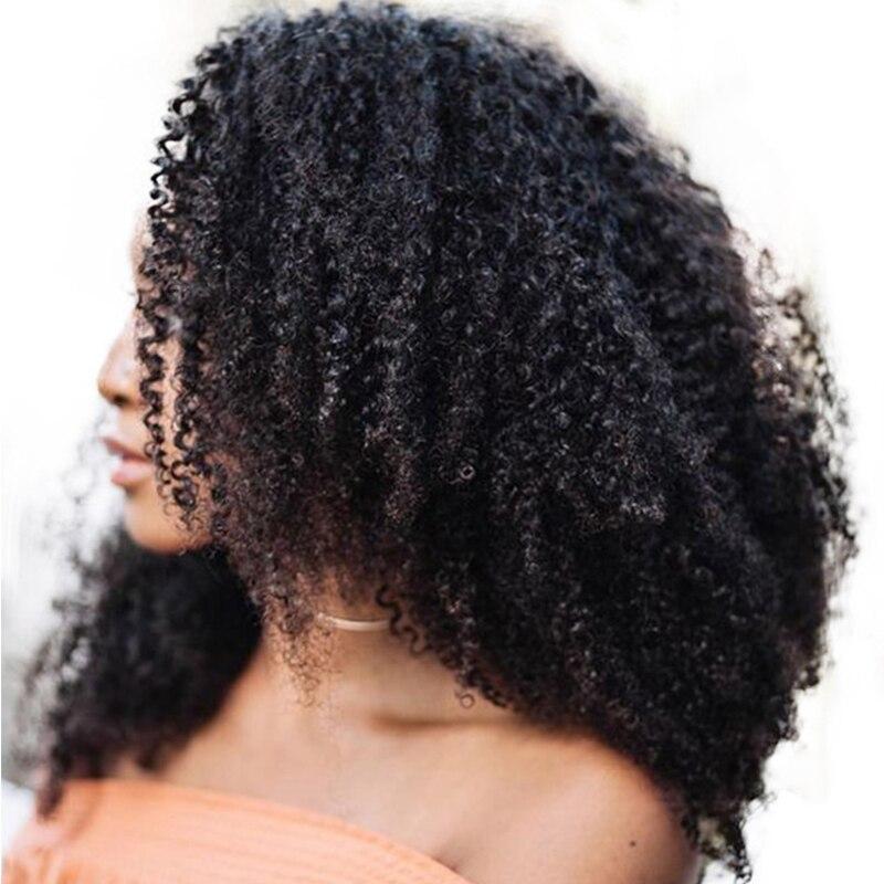 Афро кудрявый вьющиеся волосы клип в Пряди человеческих волос для наращивания 4B 4C 100% натуральные природные зажим для волос Ins бразильский В...