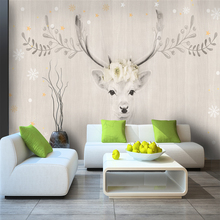 Custom 3d wallpaper American retro Mori pastoral elk hand painted watercolor floral wall - Silk waterproof material