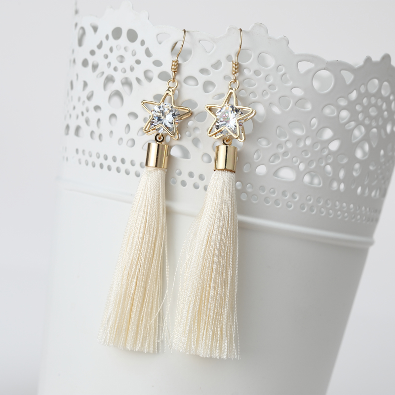 2016 Fashion Bohemian Vintage Earrings Hollow Out Pentagram Rhinestone Drop Long Tassel Earrings Jewelry For Women ED157