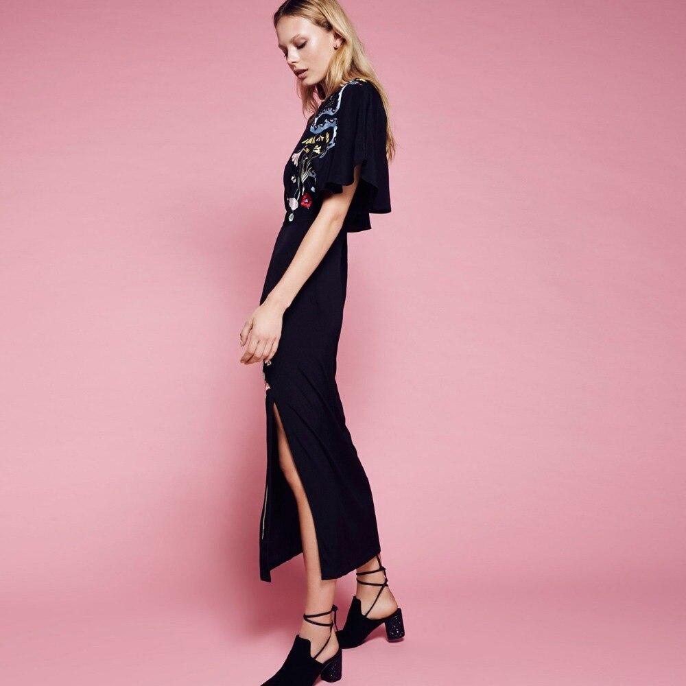 2018 mujeres vestido largo Maxi elegante de color negro floral viste ...